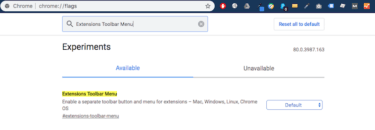 Chromeの拡張機能の表示を1つにまとめてすっきりさせる方法|Extensions Toolbar Menu